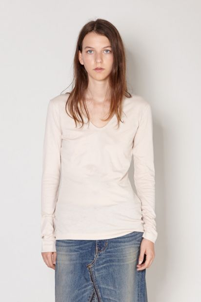 Long Sleeve V-Neck Tee - Blonde