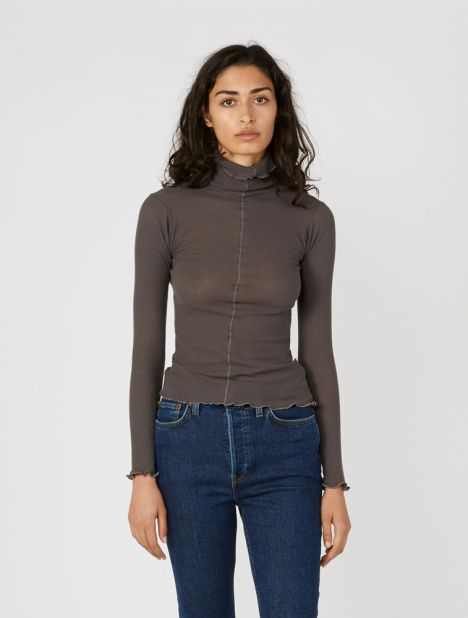 Pama Turtle Neck Top - Faded Black