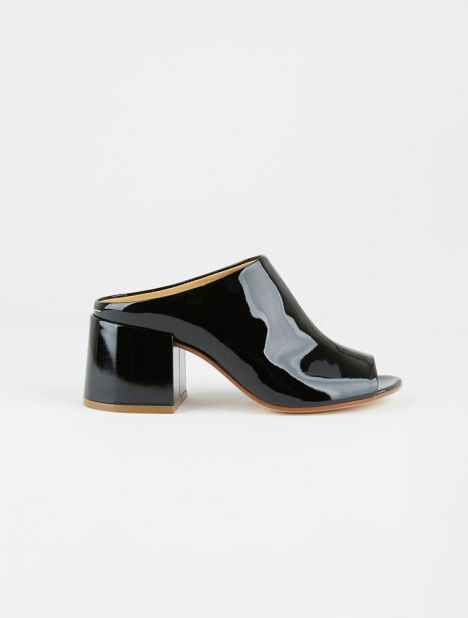 Open Toe Patent Leather Mule