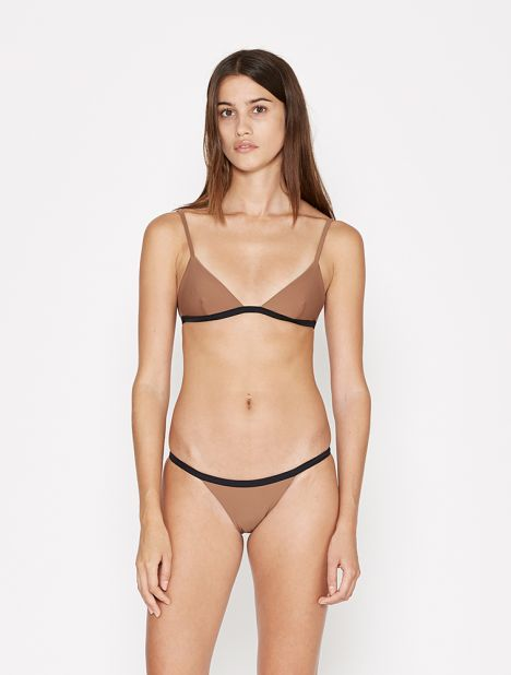 Petite Triangle Bikini Top - Almond with Black