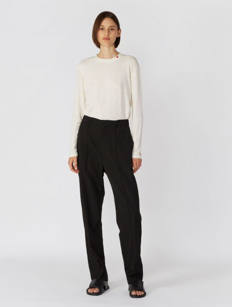 Wool Pintuck Straight-Leg Pant