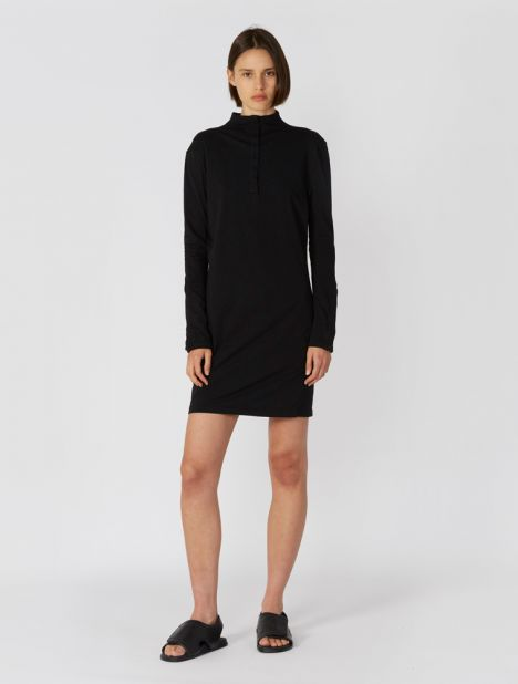 Placket Detail Long Sleeve Dress