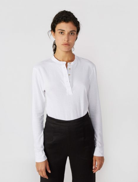 Contrast Placket Long Sleeve T.Shirt - White
