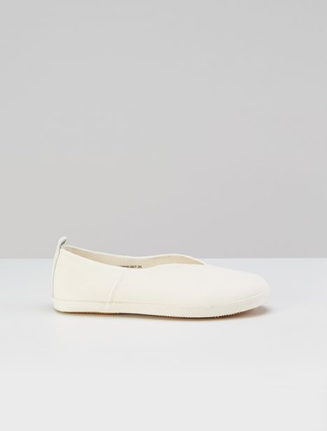 Cotton Slip-On Flat - White