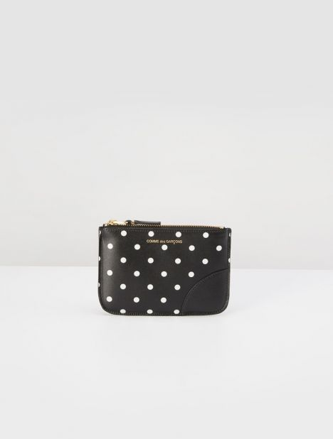 Polka Dot Small Leather Zip Pouch - Black