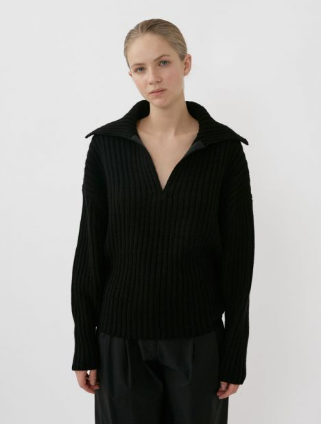 Chunky Cashmere Wool Polo Knit