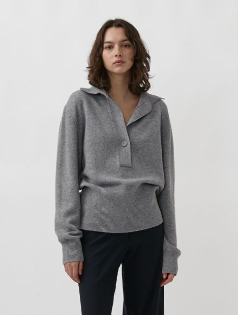 Oversized Cashmere-Blend Polo Sweater