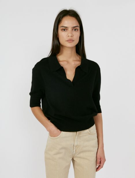 Wool Cashmere Polo Top