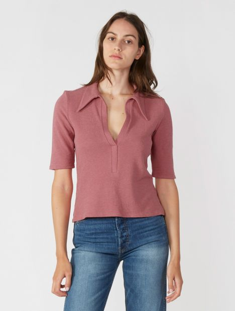Terry Polo Top - Dusty Pink