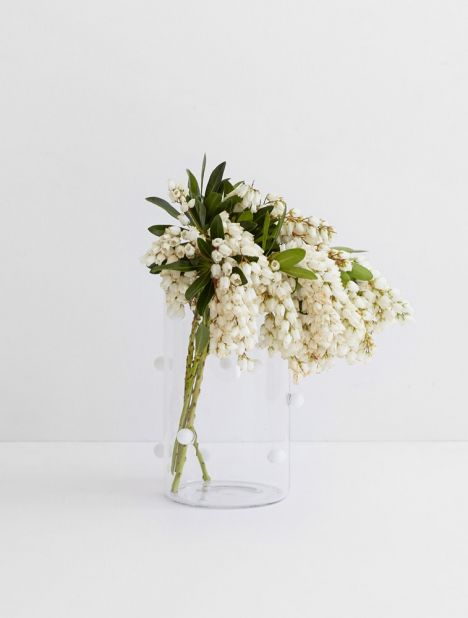 Pomponette Vase - Clear & White Dot