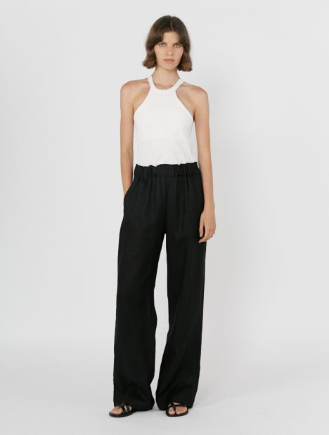 Wideleg Linen Pull-On Pant