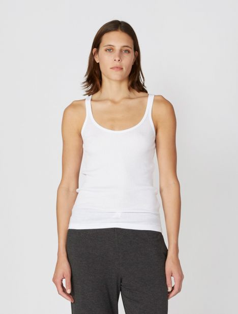 Raisa Organic Cotton Ribbed Tank - White