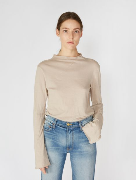 Raised Neck Slim Long Sleeve T-Shirt