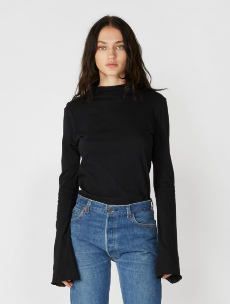 Raised Neck Slim Long Sleeve T-Shirt - Black