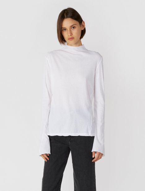 Raised Neck Slim Long Sleeve T.Shirt - White
