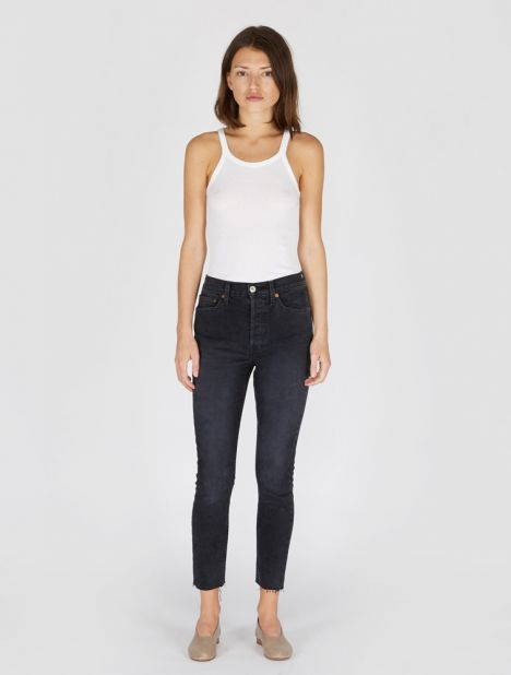 High Rise Ankle Crop Jean - Faded Black