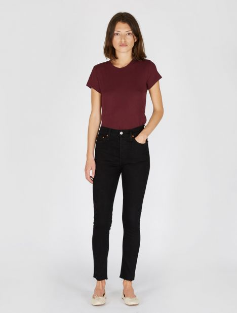 High Rise Ankle Crop Jean - Black