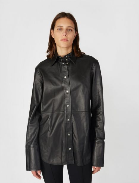 Retinal Open Back Leather Shirt