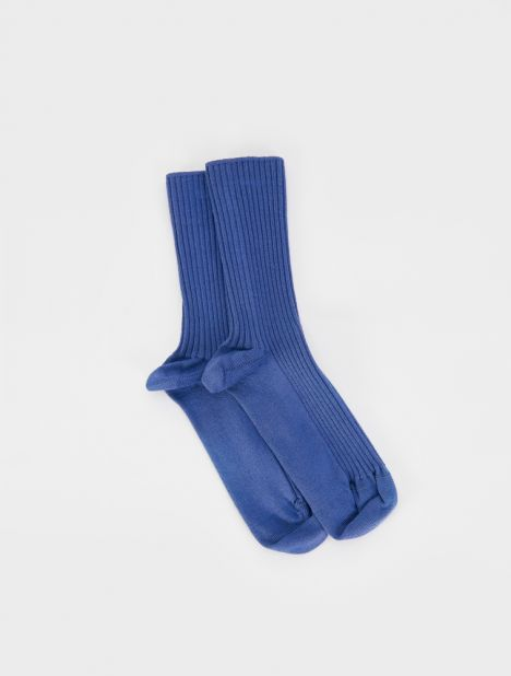 Rib Silk Ankle Socks - Blue