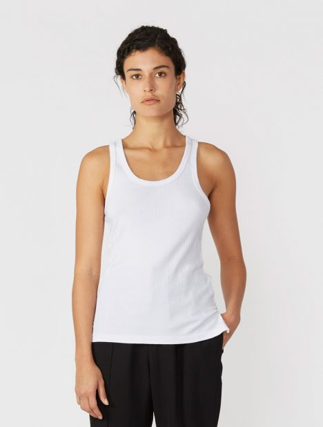 Rib Layering Scoop Front Tank - White