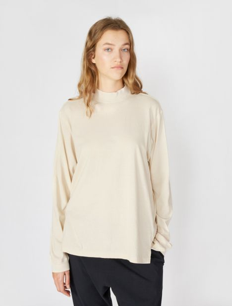 Rib Neck Oversized Long Sleeve T-Shirt - Canvas