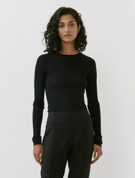 Ribbed Cashmere Pullover - Black