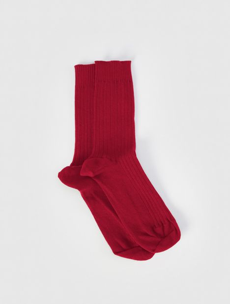 Rib Ankle Socks - Burgundy