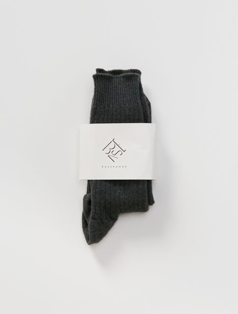 Cashmere Silk Rib Ankle Socks - Charcoal