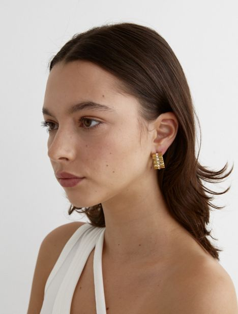 Ribbed Crystal Ring Earring - Gold