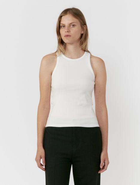 High Neck Rib Tank Top