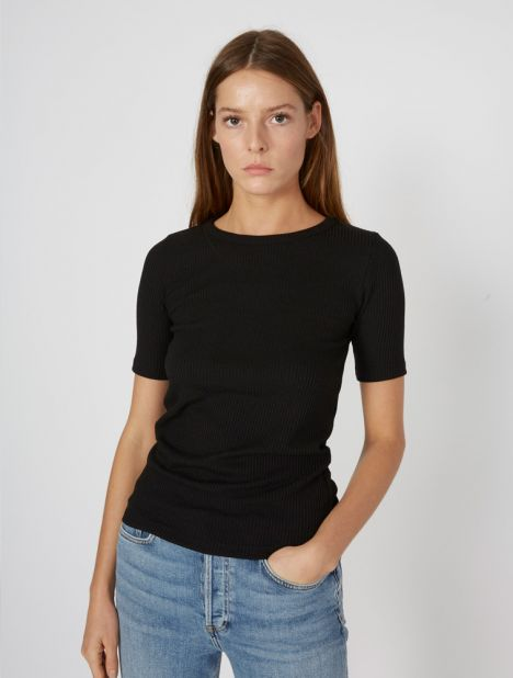 Ribbed Cotton Tee - Black