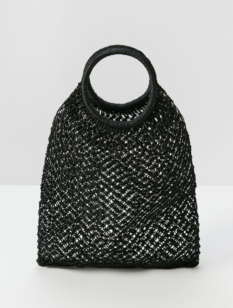 Jute Macramé Round Handle Shopper -  Black