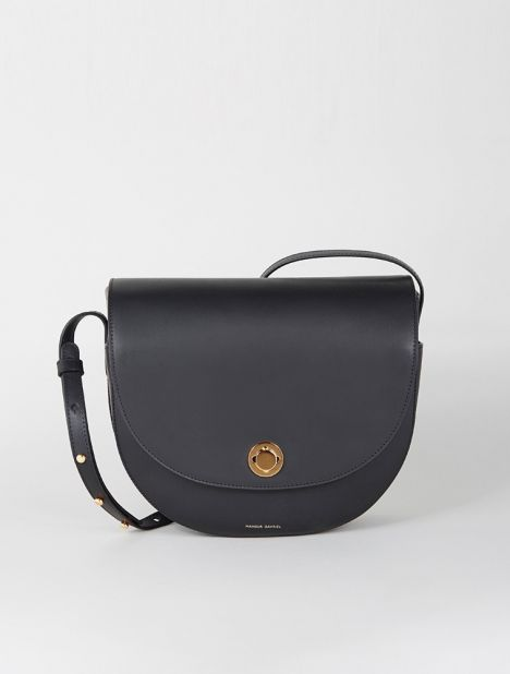 Saddle Leather Shoulder Bag - Black