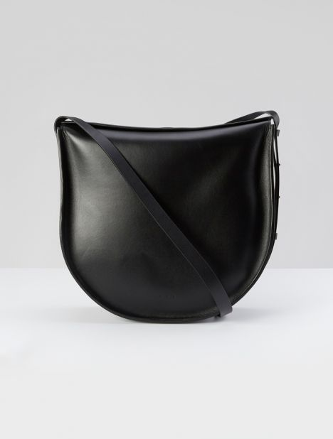 Saddle Hobo Shoulder Bag - Black