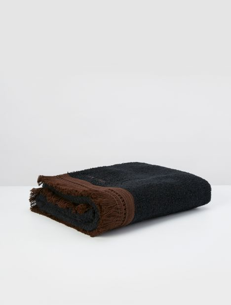 Safi Fringed Beach Towel - Black  / Brown