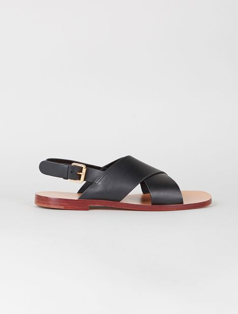 Leather Crossover Sandal - Black