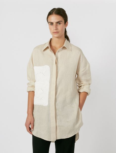 Exclusive | Sar Crochet Double Pocket Shirt - Nude/White