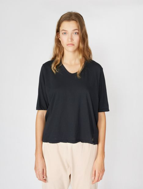 Scoop Neck Boxy T-Shirt - Dark Navy
