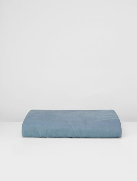 Linen Fitted Sheet - Lake Blue