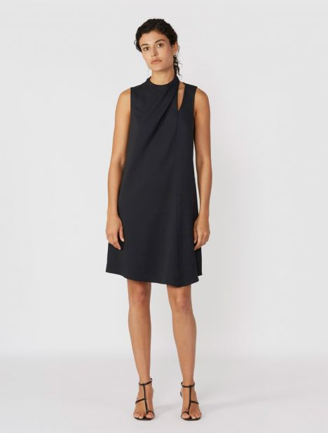 Chalky Drape Pleat Neck Shift Dress