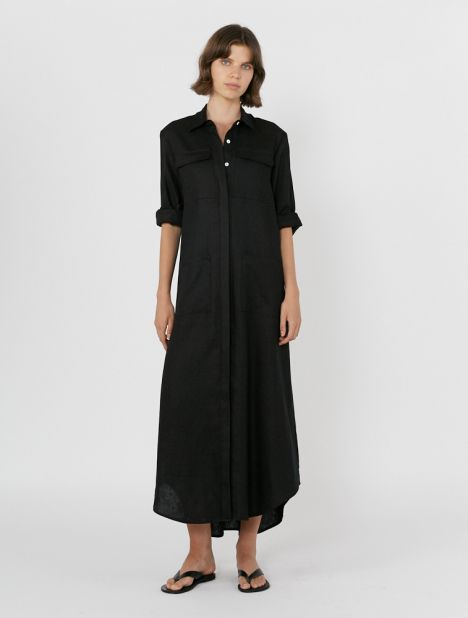 Full-Length Linen Shirt Dress