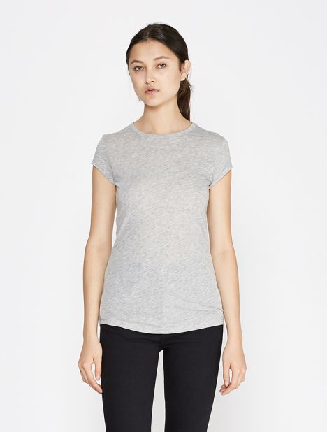 Shirttail Cap Sleeve Tee - Grey
