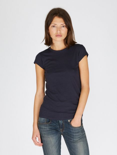 Shirttail Cap Sleeve Tee - Navy