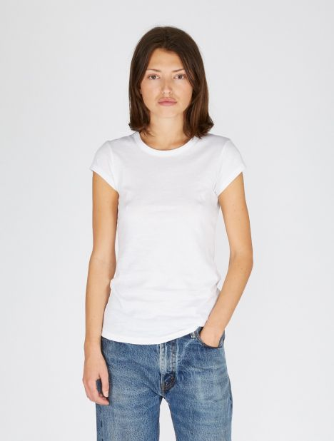 Shirttail Cap Sleeve Tee - White