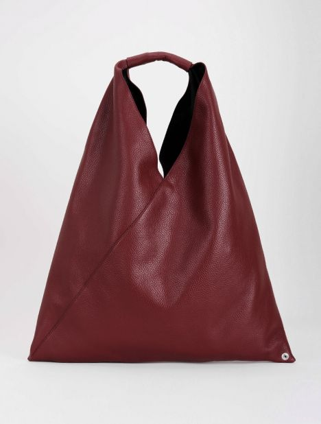 Triangle Leather Tote Bag - Burgundy