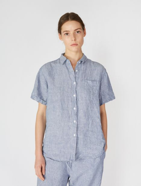 Linen Short Sleeve Shirt - Blue Weave