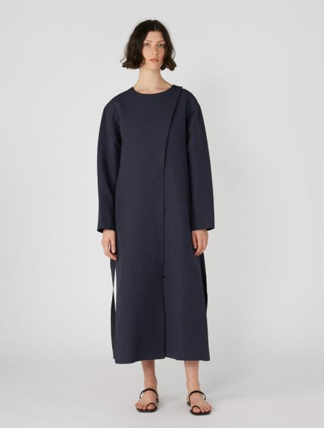 Side Pleated Maxi Dress Coat