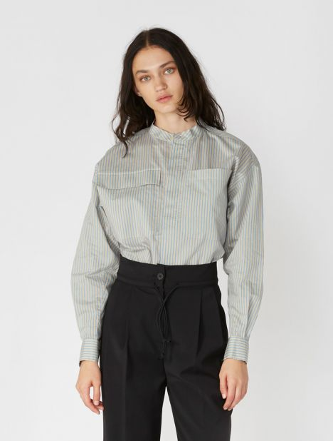 Stripe Cotton Side Split Shirt