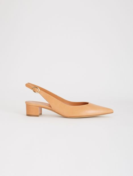 Leather Slingback Heel - Cammello