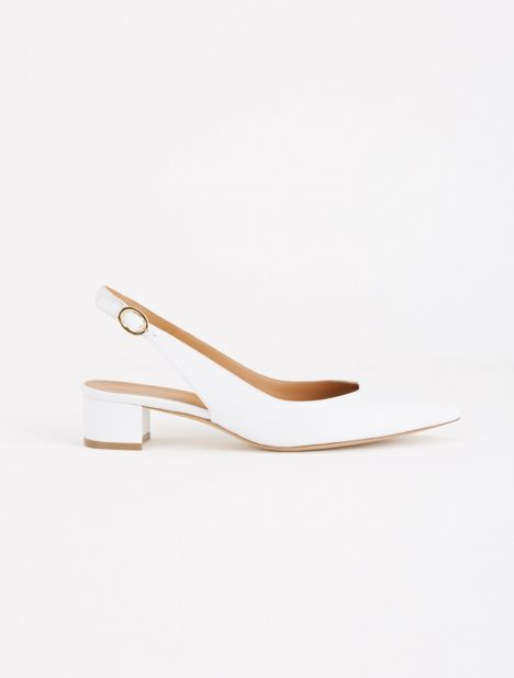 Leather Slingback Heel - White